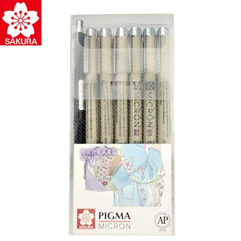 Sakura Pigma Micron pluma de dibujo de 7 piezas/4 piezas conjunto 005/01/02/03/ 05/08/XS-125 0,5mm/1mm/1 cepillo pluma pincel de diseño gráfico