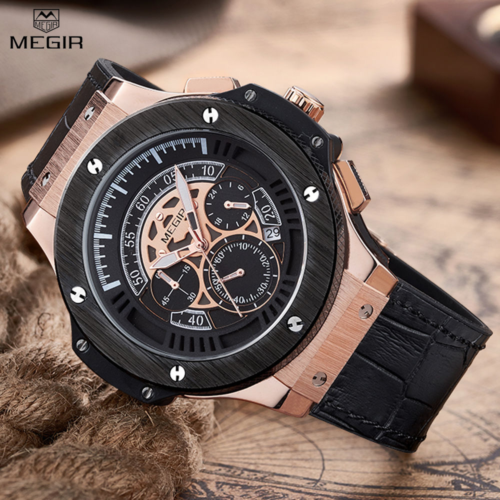MEGIR Mens Chronograph Luminous Leather Strap Quartz Wristwatches Fashion Waterproof Military Sport Watch for Man MG2035 от Aliexpress INT