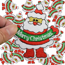 Diy father christmas patches for clothing iron embroidered patch applique iron on patches sewing accessories badge stickers