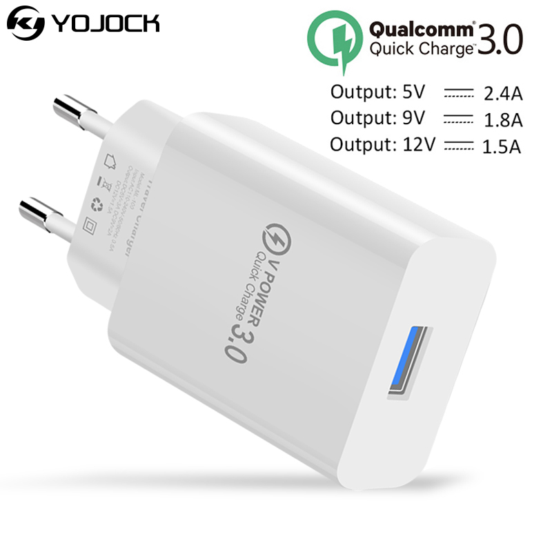 YOJOCK USB Charger Adapter Travel Wall Charger 18W Quick Charge3.0 EU/US Plug Fast Phone Charging For iPhone X Samsung S8 Xiaomi