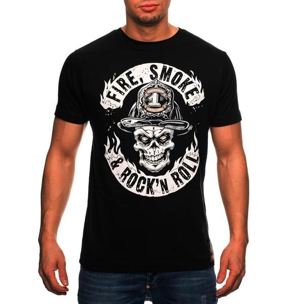 Что футболка Повседневное пожарный Для мужчин пожарный и рок-н-ролл Для мужчин Хлопковые футболка с круглым вырезом с коротким рукавом для ...