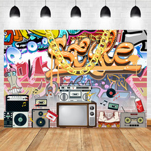 Hip Pop 80s 90s Backdrop Graffiti Rock Radio Photography Backdrops Vintage Themed Party Decoration Background for Photo