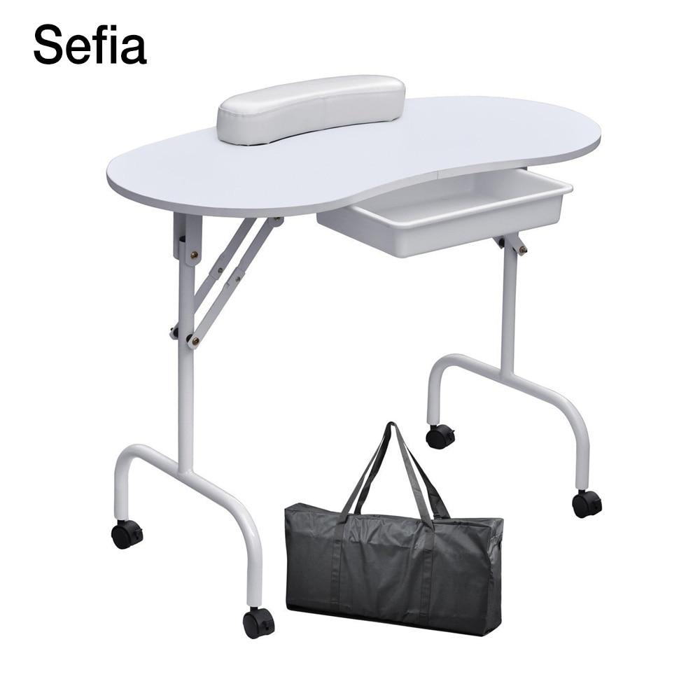Sefia brand foldable portable nail table manicure for Beauty salon furniture manicure table