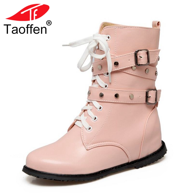 TAOFFEN Size 34-52 Women Half Short Flats Boots Lace Up Gothic Shoes Mid Calf Botas Fashion Warm Shoes Woman Female Footwear taoffen size 30 52 russia women round toe height increasing mid calf boots woman cross strap warm fur winter half shoes footwear
