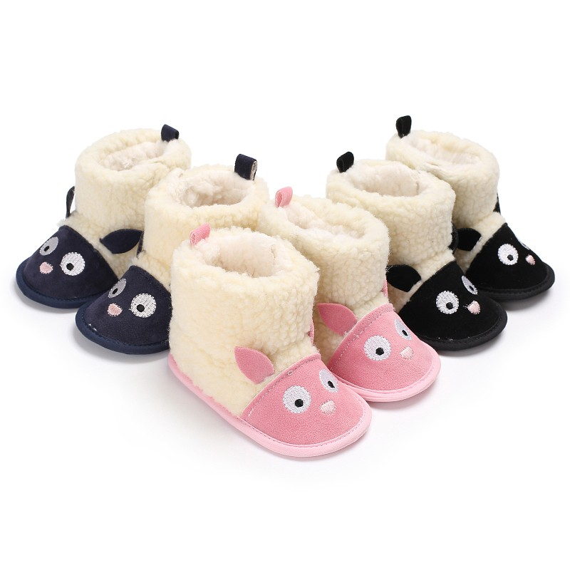 Newborns Baby Girls Boys Shoes Winter Warm Soft Sole Infant Toddler First Walker Prewalkers Cute Cartoon Shoes