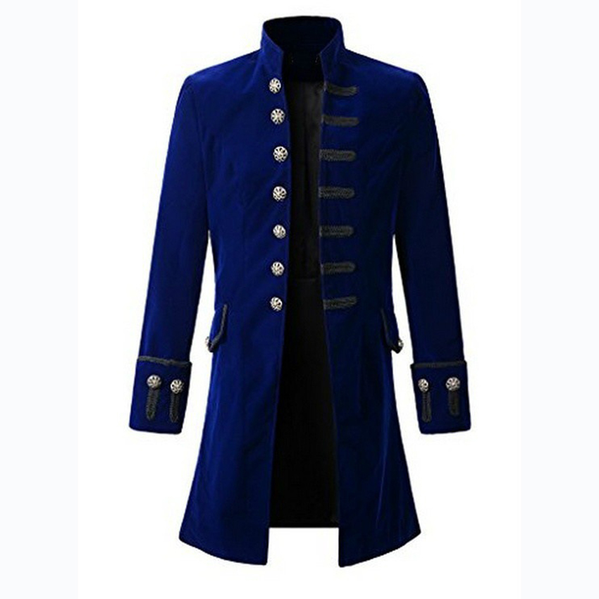 Man Medieval Gothic Costume Long Steampunk Style Stand Collar Jacket Coat Man Outfit Halloween Cosplay Carnival Disguisment Clot