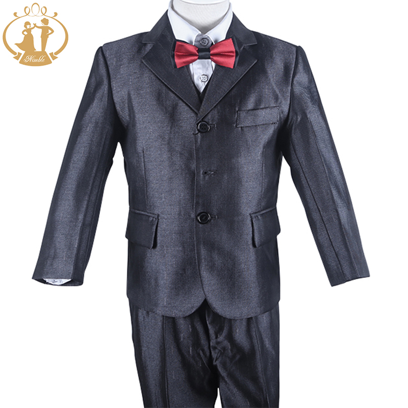 Suits for Boys Three Piece Shining Grey Baby Boy Birthday Party Suit Kids Boy Formal Suit Set Boys Suits for Weddings boys suits 3 piece wedding suit prom page boy baby formal party 3 colours