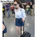 2017 marca sexemara de verão jeans mulheres botão saia jeans vintage azul curto mini saias moda feminina casuais s-xxl