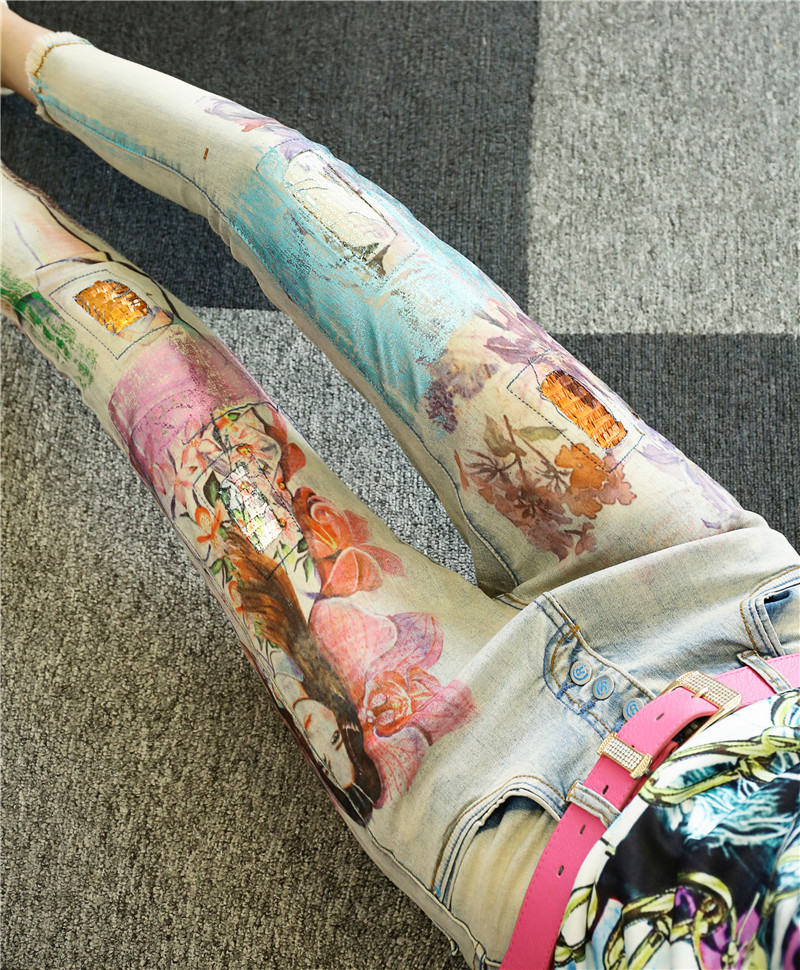 Light 25 32 Lápiz Plus Mujer Impresión Novio Casual Tamaño La Skinny Denim Blue Belleza De Agujero Vintage Jeans 5EwqqaxWgA