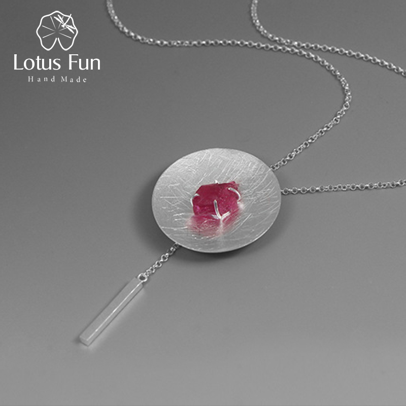 Lotus Fun Real 925 Sterling Silver Natural Gemstone Original Fine Jewelry Personality Round Necklace with Pendant for Women