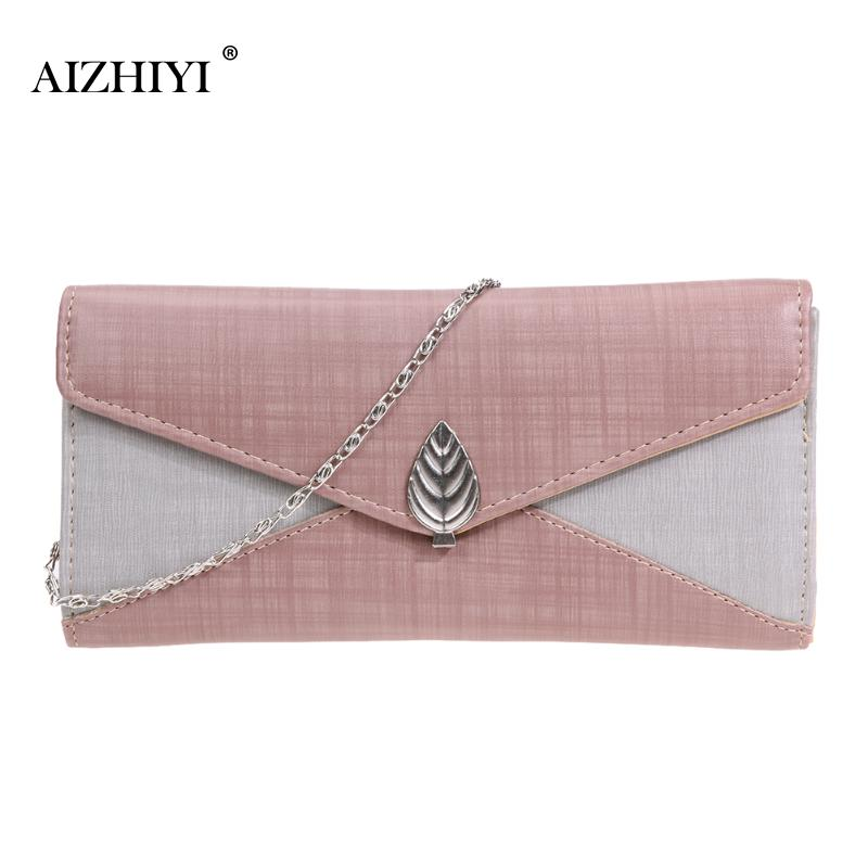 Women Envelope Dollar Price Wallet Hit Color 3 Fold Leaves Zipper Card PU Leather Wallet Long Ladies Clutch With Shoulder Chain
