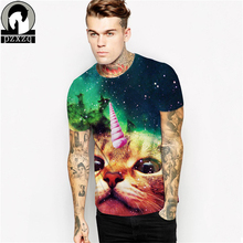 New Fashion Space Galaxy men brand t shirt funny 3D print super Explosion cat horned cat