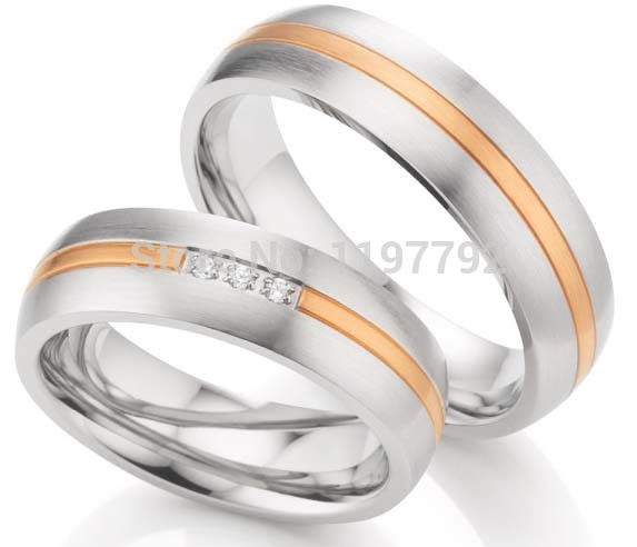 2014 custom tailor classic western two tone titanium surgical steel wedding engagement ring sets for him and her