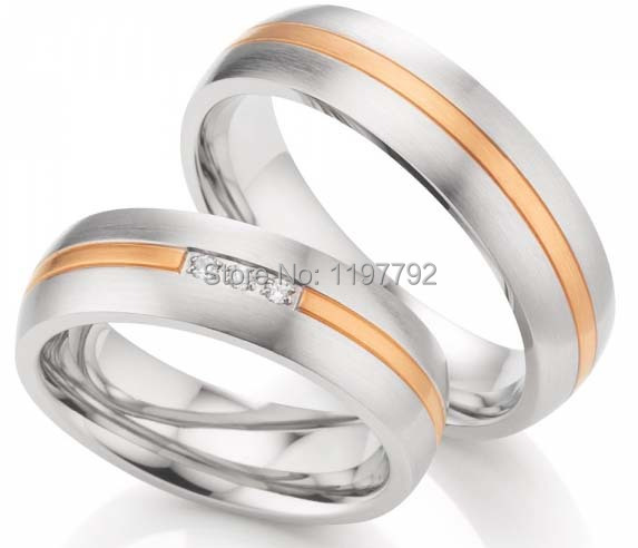 2014 Custom Tailor Classic Western Two Tone Titanium Surgical Steel Wedding Engagement Ring Sets For Him