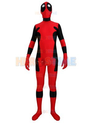 Deadpool Costume Red & Black Spandex Deadpool superhero costume fullbody adult halloween cosplay zentai suit free shipping