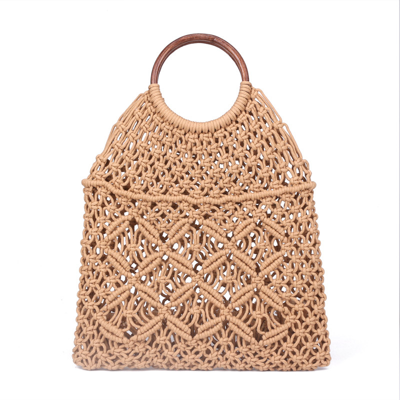 Popula Cotton Rope Hollow Straw Bag Sheer Macrame Tote Wooden Ring Rattan Handle Net Bag Vintage Retro Chic Handbag