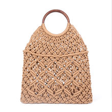 Popula Cotton Rope Hollow Straw Bag Sheer Macrame Tote wooden ring rattan handle Net Bag Vintage Retro Chic handbag(China)