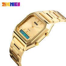 SKMEI Dual Display Jam Tangan Pria Fashion Kasual Perhiasan Stainless Steel Strap 30M Tahan Air Olahraga Jam Tangan 1220