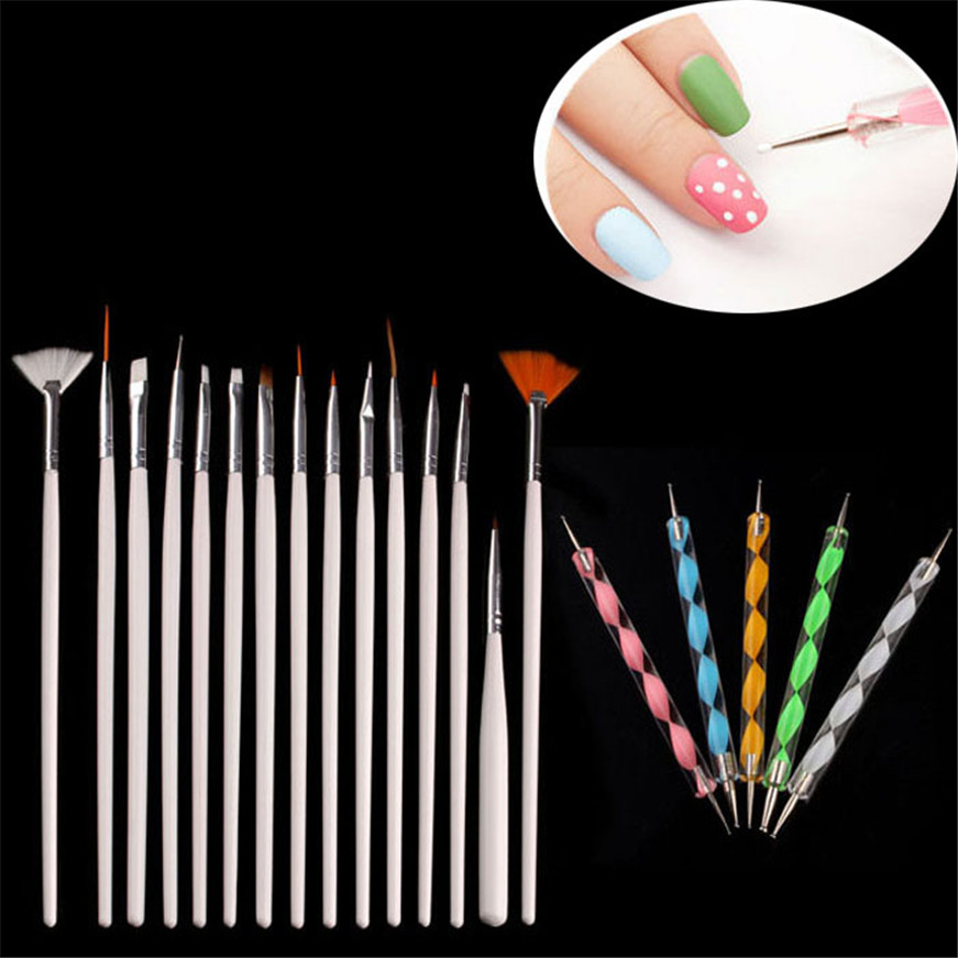 2017 * 20PCS Nail Art Design Dotting Painting Drawing Polish Brush Pen Tools makeup brushes best deal haicar fashion 12pcs uv gel nail art painting pen drawing french tips manicure pen brush design pen beauty tools