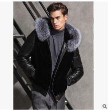 2016 herren Winter Pacthwork Faux Pelz Und Pu-leder Jacken Shorts Abschnitt Schwarz Männlichen Casual Jacken Kapuzen Outwears S/5Xl J1543