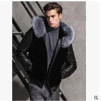 2016 Mens Winter Pacthwork Faux Fur And Pu Leather Jackets Shorts Section Black Male Casual Jackets