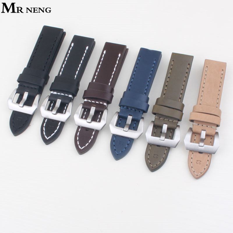 MR NENG Leather Watchband 20mm 22mm 24mm 26mm Watch Band Man Watch Straps Black Brown Green Blue Stainless Steel Sliver Buckle