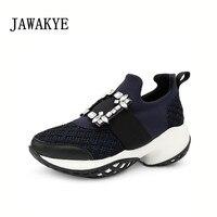 Популярные сетчатые кроссовки с квадратной пряжкой и кристаллами; женская обувь из натуральной кожи на платформе с толстой подошвой; дышащ