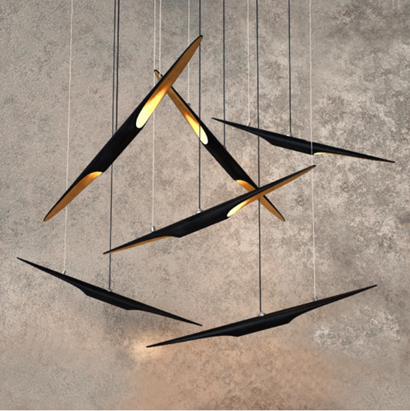 ZYLED Nordic aluminum aircraft personality creative modern minimalist iron bamboo restaurant cafe living room office chandeliers