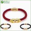 2Bags DHL Wholesale Punk Style North Skull Leather Bracelet Twin Skull Design Bracelet S5-0297