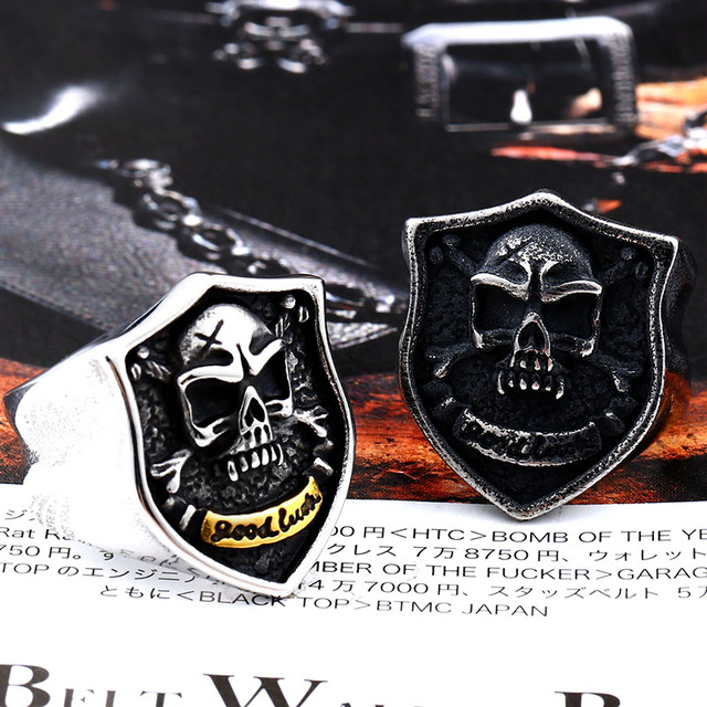 STAINLESS STEEL SHIELD SKULL RINGS
