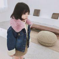 0 6 Y Kids Winter Coat Thick Warm Denim Jacket Down Parkas Fur Collar Toddler Girls Snowsuit Fleece Overcoat Children Clothing