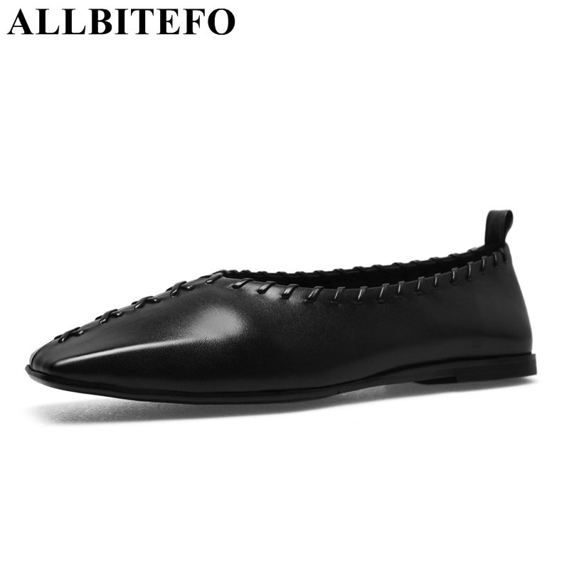ALLBITEFO genuine leather square toe high quality women flats spring casual and comfortable flat shoes office ladies shoes e0980  high quality comfortable and