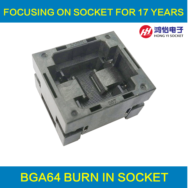 BGA64 OPEN TOP burn in socket pitch 1.0mm IC size 11*13mm BGA(11*13)64-1.0-TP01NT BG64 VFBGA64 burn in programmer socket bga140 open top burn in socket pitch 0 65mm ic size 7 10mm bga140 7 10 0 65 tp01nt bga140 vfbga140 burn in programmer socket