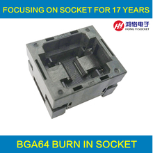 BGA64 OPEN TOP burn in socket pitch 1.0mm IC size 11*13mm BGA(11*13)64-1.0-TP01NT BG64 VFBGA64 burn in programmer socket newest xeltek original superpro 610p high speed device usb universal ic chip programmer 13pcs burn block