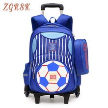 Kids School Bags Boys Children With 2/6 Wheels Back Pack Girls Trolley Bag Removable Luggage Backpack