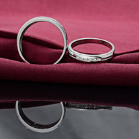 Genuine 18k solid white gold Natural Diamond Ring Set wedding bands couple rings set round brilliant cut 0.24ct certified H/SI