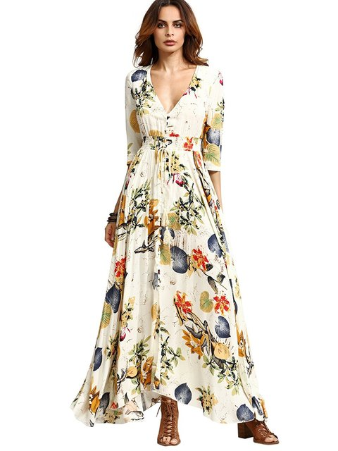 14c50c90f8 Women s Button Up Split Floral Print Flowy Party Maxi Dress-in ...