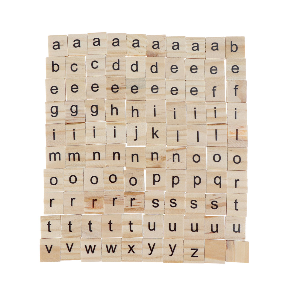 100pcs/101pcs English Words Alphabet Tiles Wooden Letters Black Scrabble Letters & Numbers For Crafts Wood New Home & Garden