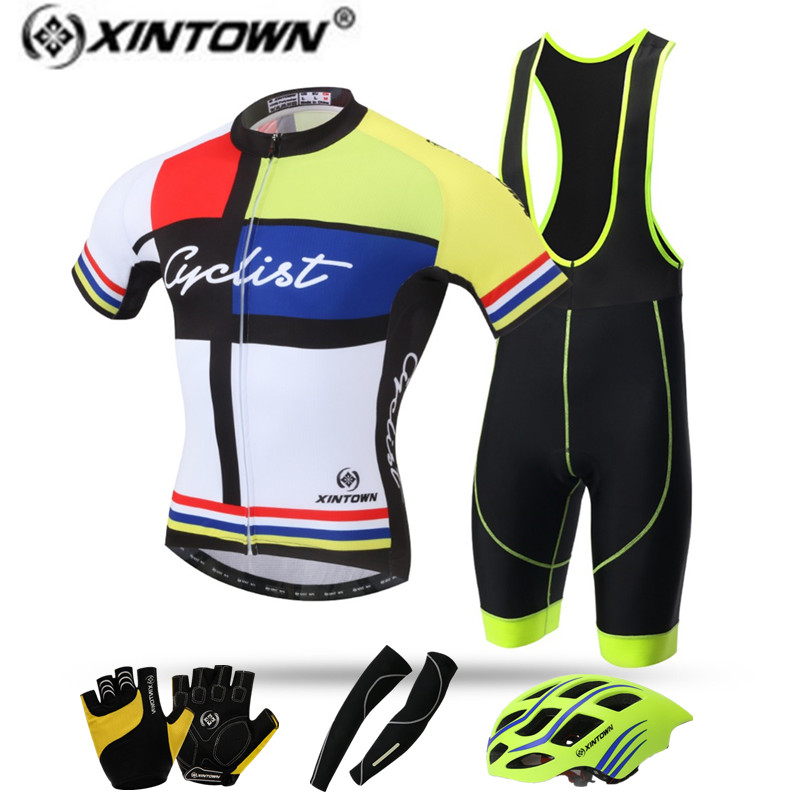 XINTOWN Cycling jersey set cheap authentic sports jerseys Riding Equipment Helmet Gloves Bicycle roupa ciclismo Clothing Sets