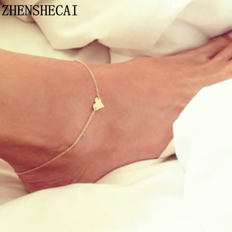New Heart Female Anklets Barefoot Crochet Sandals Foot Jewelry Leg New Anklets On Foot Ankle Bracelets For Women Leg Chain Ns1