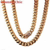 Granny Chic Miami Cuban Chains For Men Fashion Jewelry Wholesale Gold Color 15mm Stainless Steel Long