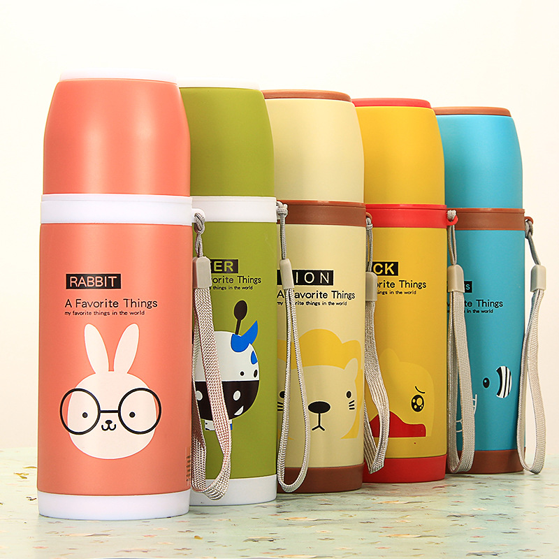 Cute Cartoon Thermos Stainless Steel Vacuum Flask Cup 500ml Candy Color Thermos Mug for Travel Sport