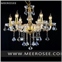 Modern Crystal Chandelier Lamp Fixture Black Champagne Crystal Light Candle Glass Chandelier Lighting Luster Living Room