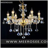 Modern Crystal Chandelier Lamp Fixture Black Champagne Crystal Light Candle Glass Chandelier Lighting Luster Living Room