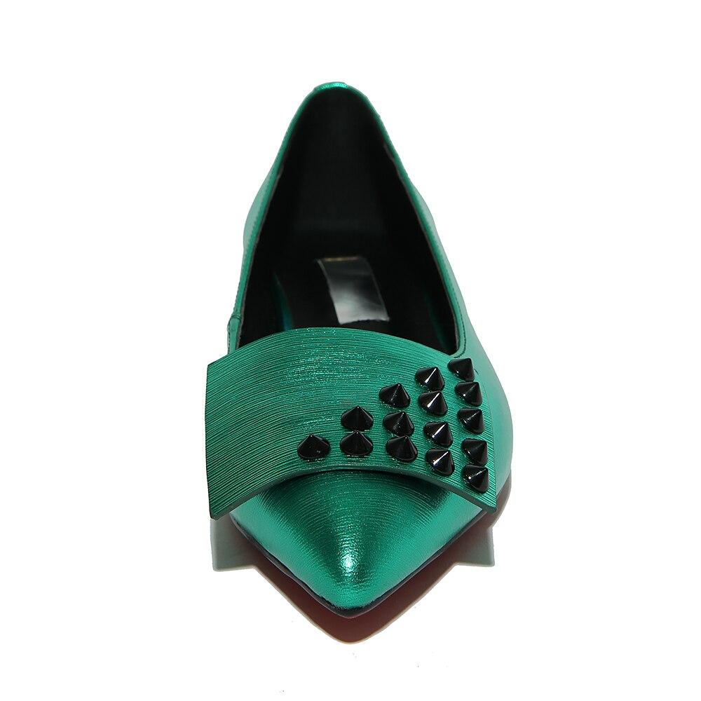 Solides Qualité Grande Green Taille amp; Rivets Couleurs 42 Printemps silver 2 Haute 2017 En Véritable De Cuir Automne 33 Femmes Pompes w1qwBS