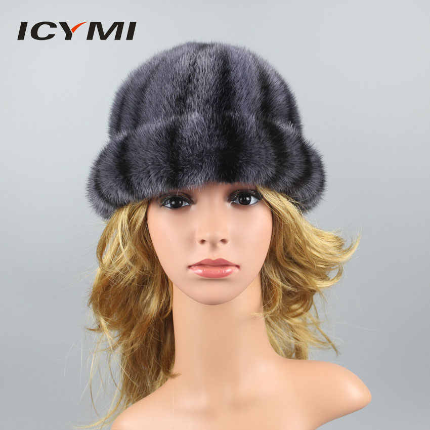 4472d23a26254 ICYMI 100% Real Mink Fur Hats for Women Thick Warm Lining Patchwork Mink Fur  Beanies