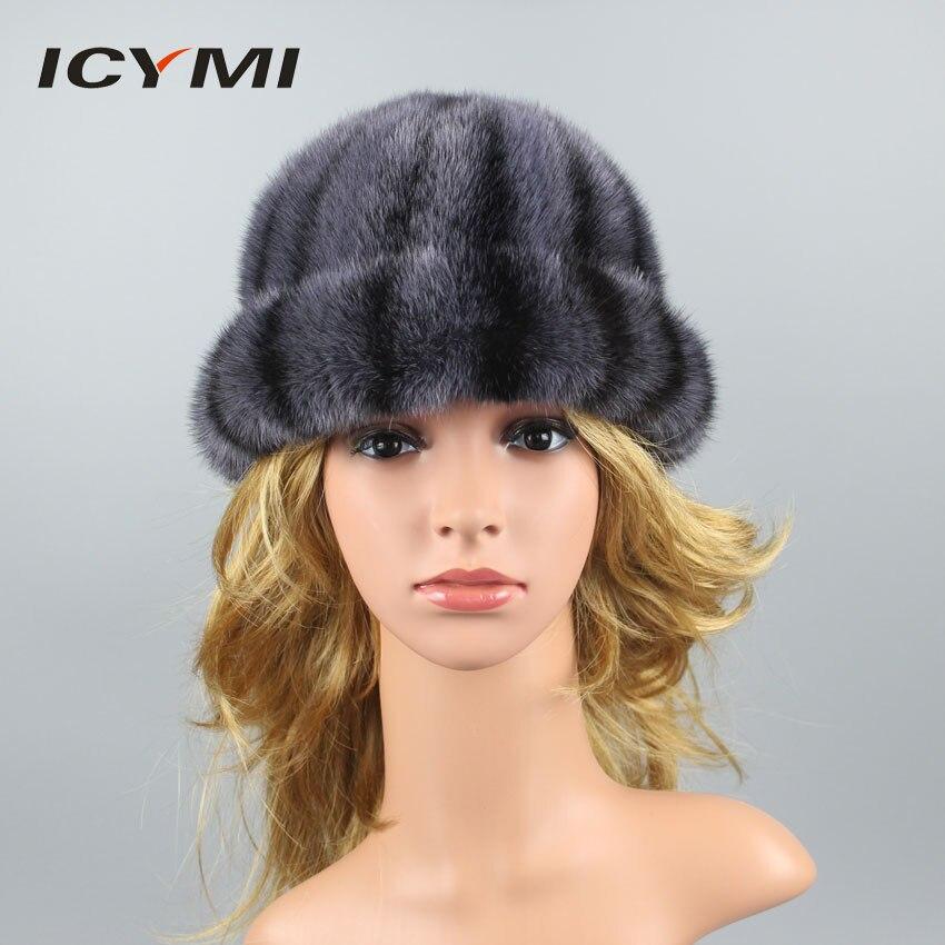 ICYMI 100% réel vison fourrure chapeaux pour femmes épais chaud doublure Patchwork vison fourrure bonnets chapeau mignon vison Cap femelle hiver chapeaux
