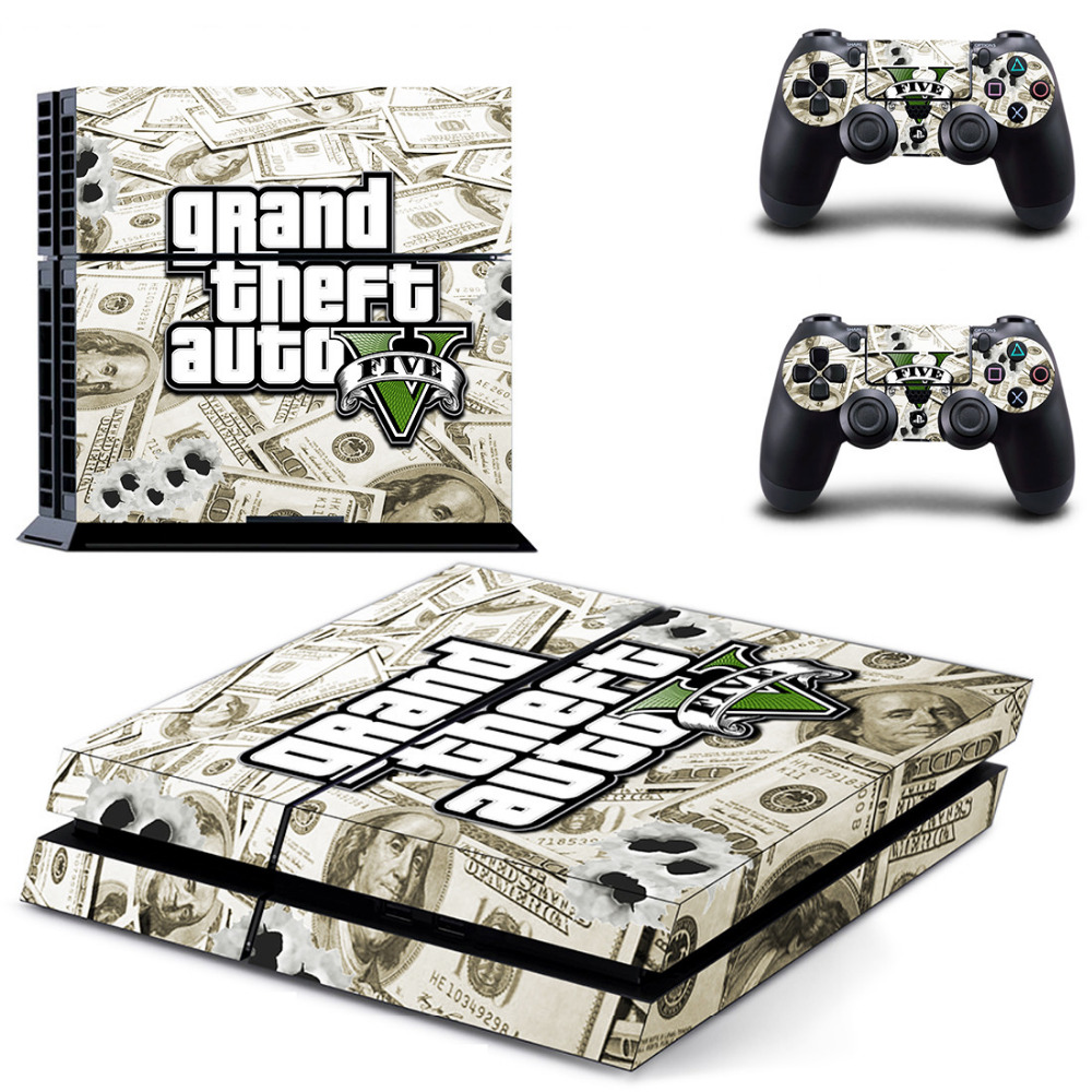 Game Grand Theft Auto V GTA 5 PS4 Skin Sticker Decal For Sony PlayStation 4 Console and 2 Controllers PS4 Skin Sticker Vinyl