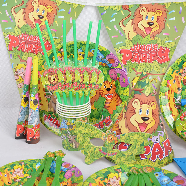 90 pcs Jungle Party Theme Decorate Tableware Sets Birthday