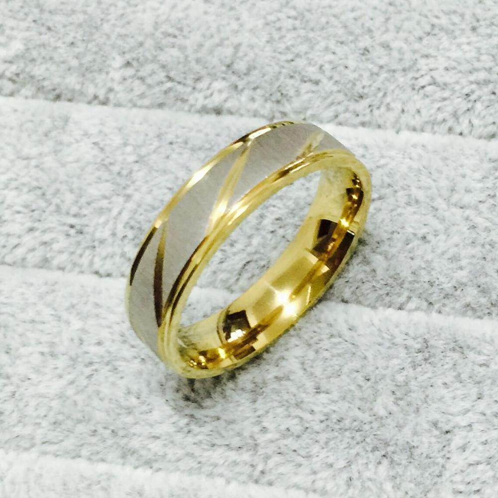 stainless steel wedding bands 6mm 3 Clear CZ Set Classic Dome L Stainless Steel Wedding Band